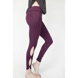 Free People Movement Heathered Purple Infinity Cut Out Cropped Leggings, S